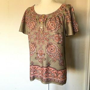 Michael Kors M Short Sleeves 100% Silk Top Blouse